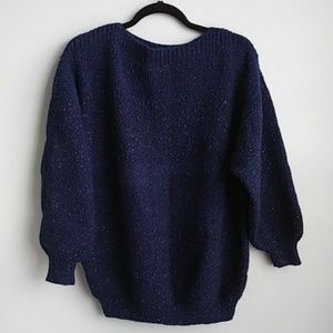 Blue Chunky Knit Sweater w/ Multi Color Threading